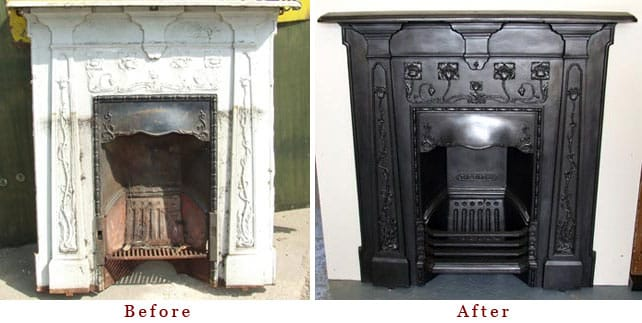Find out how to restore a cast iron fireplace that has been painted over to its former glory