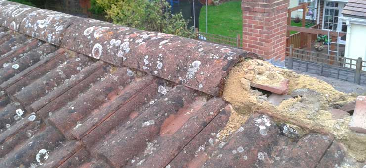 Missing roof ridge tiles